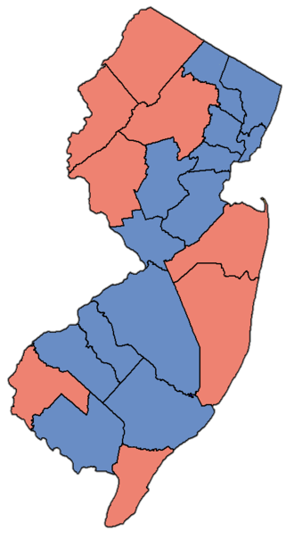 United States Senate election in New Jersey, 2006 - Image: NJ Sen Counties 06