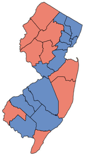 United States Senate election in New Jersey, 1994 - Image: NJ Sen Counties 98