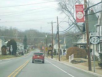 New Jersey Route 122 - Route 122 westbound at the northwest end of its concurrency with CR 519 in Pohatcong Township