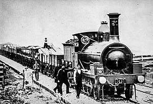 New South Wales E17 class locomotive - No. 20 with early goods train at Bundanoon. 1870.