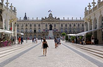 City hall and monument to Stanislaus I of Poland, at Place Stanislas Nancy Place Stanislas BW 2015-07-18 14-00-16.jpg