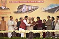 Narendra Modi witnessing the exchange of MoUs between the Ministry of Railways and Government of Maharashtra, at the foundation stone laying ceremony of the two metro corridors and other projects, at Bandra Kurla Complex.jpg