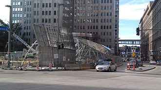 Pittsburgh Light Rail - Construction on the Gateway Center station in August 2011.