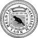 "A black, circular seal with a notched, outer border. The center contains a sheild or crest with a crown atop it. In the shield is a beaver. Surrounding the shield are the words ""SIGILLVM NOVI BELGII""."