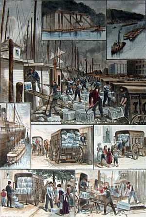 "Ice trade - The ice trade around New York City; from top: ice houses on the Hudson River; ice barges being towed to New York; barges being unloaded; ocean steamship being supplied; ice being weighed; small customers being sold ice; the ""uptown trade"" to wealthier customers; an ice cellar being filled; by F. Ray, Harper's Weekly, 30 August 1884"