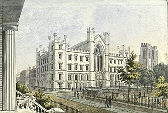 Collegiate Gothic - Image: New York University Building in Washington Square, 1850