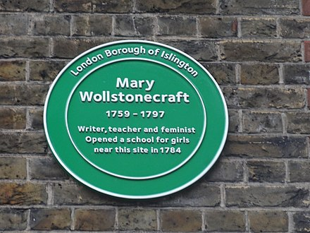 Green plaque on Newington Green Primary School, near the site of a school that Wollstonecraft, her sisters (Everina and Eliza), and Fanny Blood set up; the plaque was unveiled in 2011. Newington Green plaque.JPG