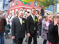 Newlywed male same-sex couple at Gaypride 2006...