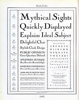 Cochin (typeface) - Image: Nicholas Cochin Type Specimen (8090183979)