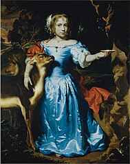 Portrait of a girl as Granida, in a blue silk dress with two deer