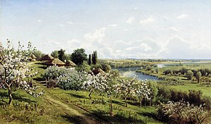 "Little Russia - Nikolay Sergeyev. ""Apple blossom. In Little Russia."" 1895. Oil on canvas."