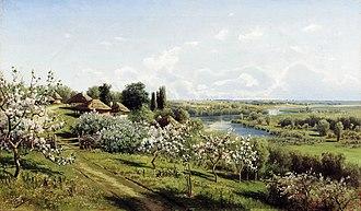 "Little Russia - Nikolay Sergeyev. ""Apple blossom. In Little Russia."" 1895. Oil on canvas."