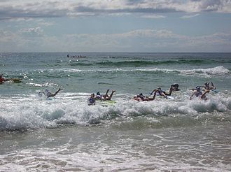 Nippers - Board Race of the Nippers heading the open sea.
