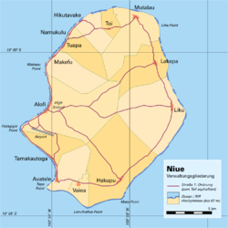Administrative map of Niue showing all the villages. Alofi is on the western side of the island