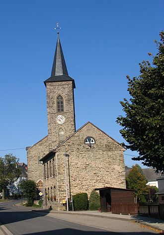 Norath - Hauptstraße 10 and 12: former school and Saint Nicholas's Catholic Parish Church