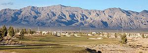 Las Vegas Range - southern massif of Las Vegas Range visible highpoint: Gass Peak, left-center