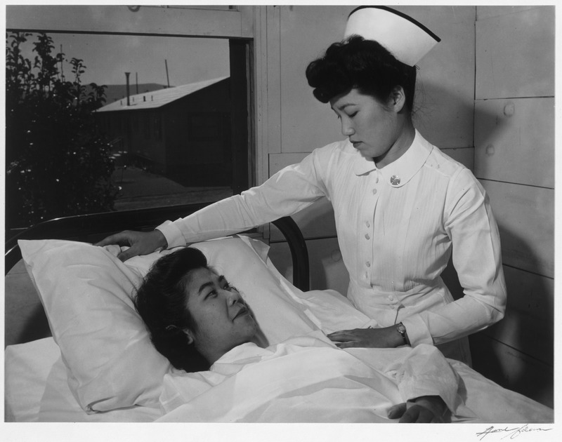 Nurse Aiko Hamaguchi and patient Toyoko Ioki, Manzanar Relocation Center, California.tif