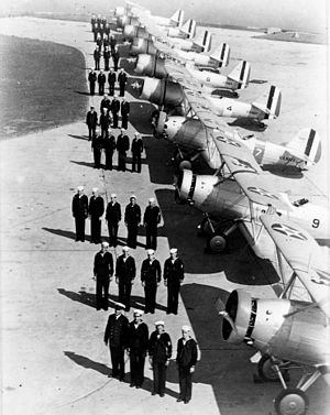Naval Air Station Squantum - OJ-2s and SBUs of VS-2R lined up for inspection, in 1938.
