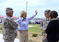 Oklahoma Gov. Mary Fallin, discusses tornado damage with U.S. Army Maj. Gen. Myles Deering, the adjutant general of Oklahoma, Gen. Frank Grass, the chief of the National Guard Bureau, and Patricia Grass in Norman, Okla. 130528-Z-TK779-023.jpg