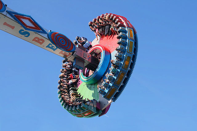 Fahrgeschäft Frisbee mit drehender Scheibe am Ende image source