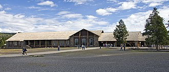 Old Faithful Lodge - Old Faithful side of the Lodge