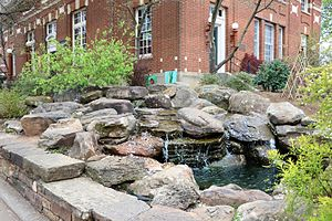 Fayetteville Historic Square - Waterfall in front of the northwest corner of the Old Post Office.