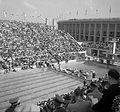 Olimpiai Úszóstadion, a műugrótoronnyal. Fortepan 17422.jpg