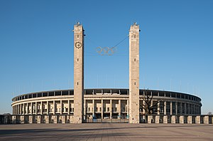 Sport in Berlin - Exterior of Olympiastadion in 2011.