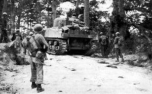 96th Sustainment Brigade (United States) - On the Ginowan road, men and armor of the 382d Infantry, 96th Division, move through a wooded area, alert for concealed enemy positions.