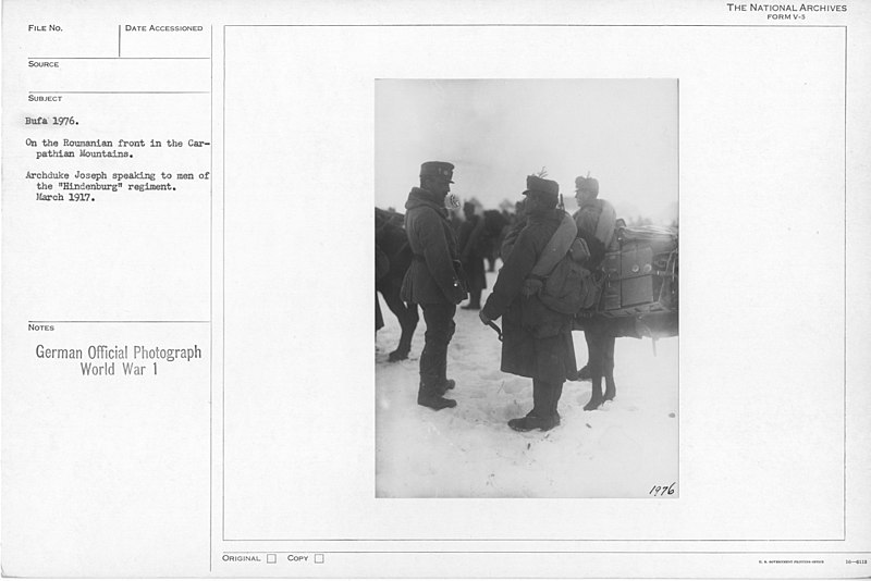 """File:On the Roumanian front in the Carpathian Mountains. Archduke Joseph speaking to men of the """"Hidenburg"""" regiment. March 1917 - NARA - 17390370.jpg"""