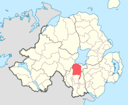 Location of Oneilland West, County Armagh, Northern Ireland.
