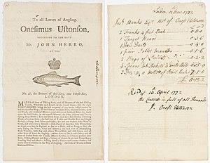 Onesimus Ustonson - Ustonson invoice and receipt to Joseph Banks, 1772.