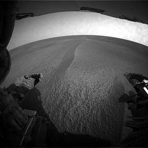 Hazcam - Hazcam images indicated to NASA engineers that the ''Opportunity'' rover was stuck in a sand dune.