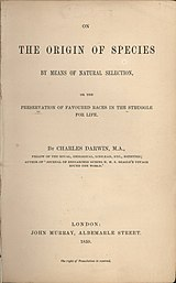 The 1859 edition of On the Origin of Species