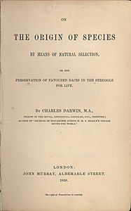 On the Origin of Species -teoksen nimiösivu vuodelta 1859.