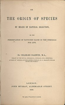Origin of Species, title page, 1859