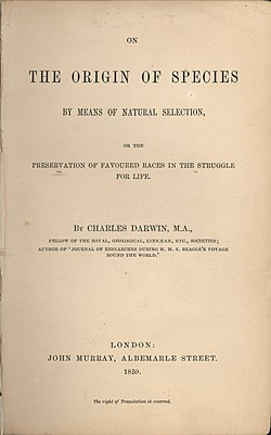 "1859年の初版 ""On the Origin of Species by Means of Natural Selection, or the Preservation of Favoured Races in the Struggle for Life"" の表紙"