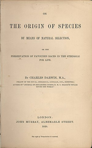 The title page of On the Origin of Species, fi...