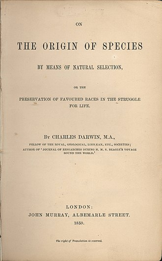 On the Origin of Species - The title page of the 1859 edition of On the Origin of Species