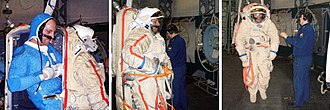Orlan space suit - Clayton Anderson enters an Orlan-M suit through the rear hatch. (NASA)