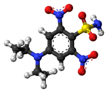 Ball-and-stick model of the oryzalin molecule