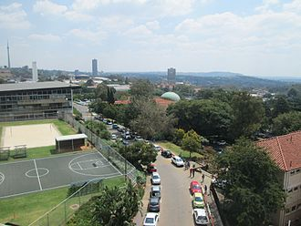 Campuses of the University of the Witwatersrand - The north-west of East Campus as viewed from the balcony of the Student Union Building, adjoining the SRC offices.