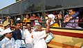 "P. Radhakrishnan inaugurating the ""26th Road Safety Week"" by the distributing pamphlets on road safety awareness, at Marina Beach Road, in Chennai on January 16, 2015.jpg"