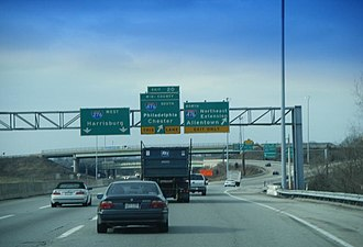 Interchanges in Pennsylvania - Westbound Pennsylvania Turnpike (Interstate 276) at the Mid-County interchange.