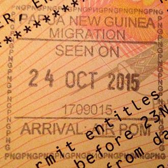 Visa policy of Papua New Guinea - Papua New Guinea entry stamp