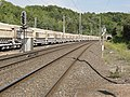 Pagny-sur-Meuse (Meuse) gare, entrée tunnel CF et wagons transport calcaire.jpg