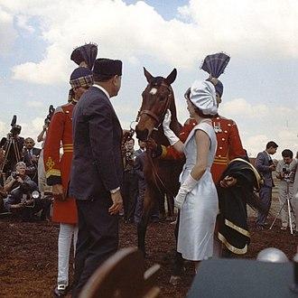 Generosity - Mohammed Ayub Khan, the second president of Pakistan presenting Jackie Kennedy a gelding, 1962