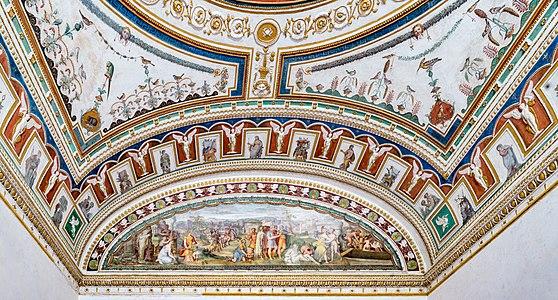 """Palazzo Grimani (Castello) a Venezia. Lunetta con affresco di Francesco Salviati """"Origini e fasti della famiglia Grimani"""","""
