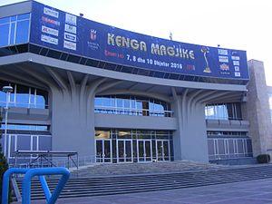 Kënga Magjike - Banner at the Palace of Congresses where Kënga Magjike 2016 was held