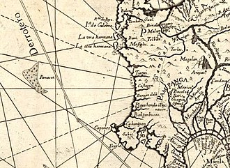 Scarborough Shoal - Panacot shown off the coast of Central Luzon in the 1734 map